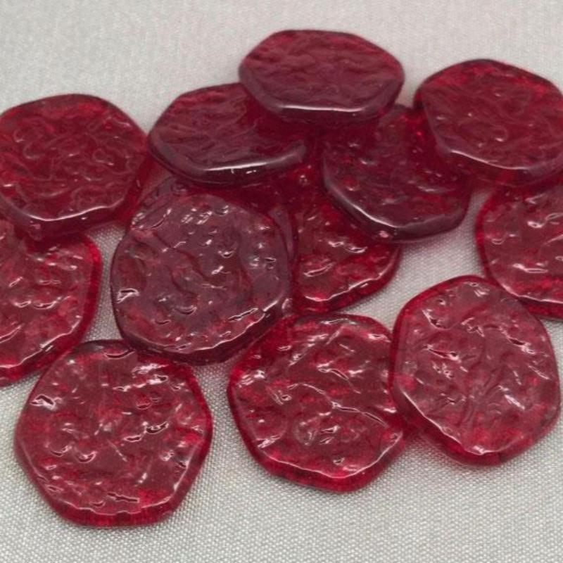 20 Vintage Siam Red Lucite Ice Chip Cabochons