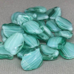 25 Teal Czech Striped Wavy Glass Beads