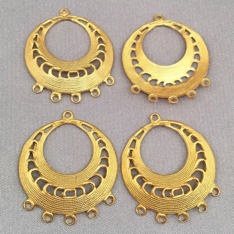4 Five Strand Brass Chandelier Pendant Earring Components