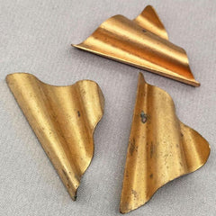 4 Vintage Wavy Brass Metal Stampings