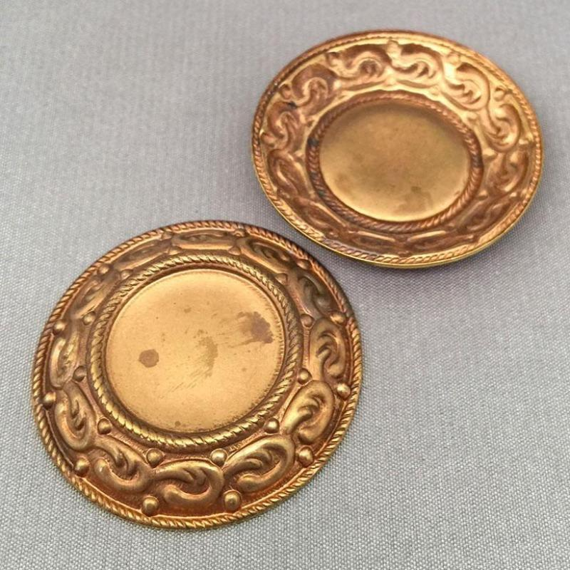 2 Vintage Domed Brass Metal Settings