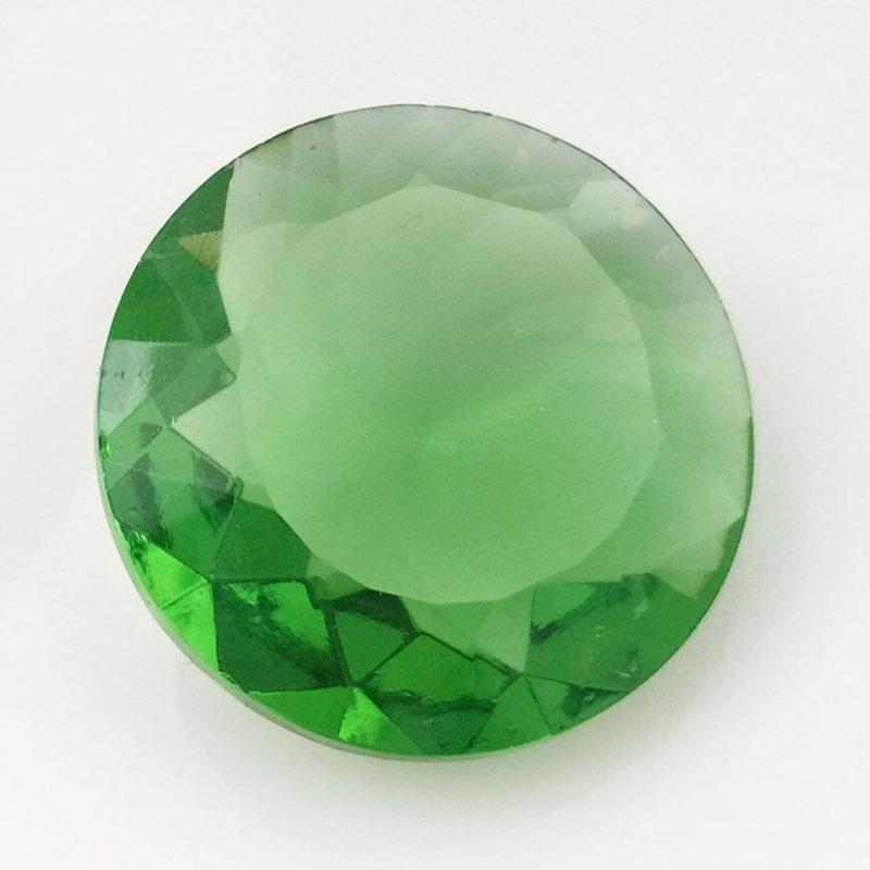 1 Vintage Large Green Czech Faceted Round Glass Stone