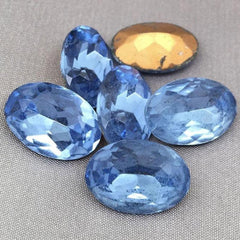4 Vintage Sapphire Blue German Faceted Oval Glass Stones