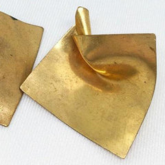4 Vintage Warped Brass Square Stampings