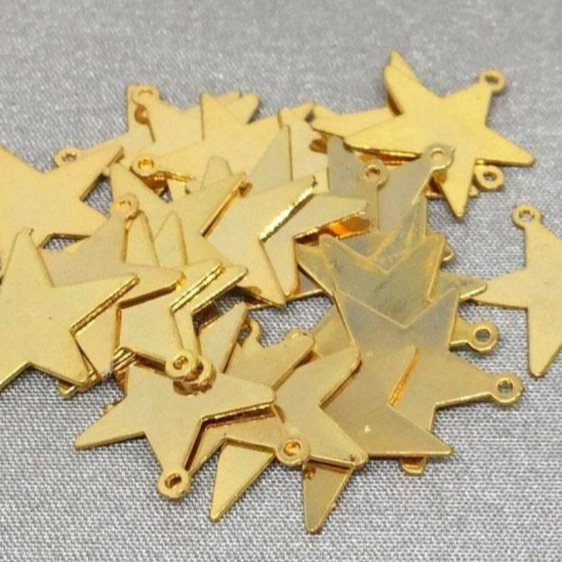 50 Gold Plated Metal Star Charms