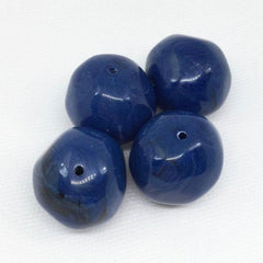 4 Vintage Black Blue Swirl Baroque Lucite Beads