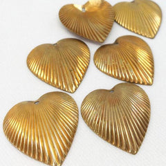 10 Vintage Corrugated Brass Heart Pendants