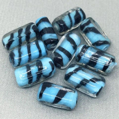 10 Vintage Turquoise Tiger Striped Glass Beads