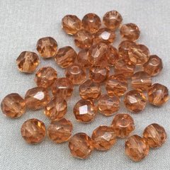 50 Champagne Brown Czech Faceted Glass Beads