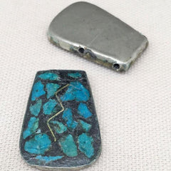 2 Vintage Handmade Aqua Mosaic Two Hole Metal Pendants