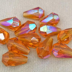 12 Vintage AB Topaz Czech Faceted Teardrop Glass Beads