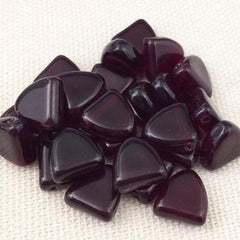 25 Vintage Dark Garnet Czech Triangle Drop Glass Beads