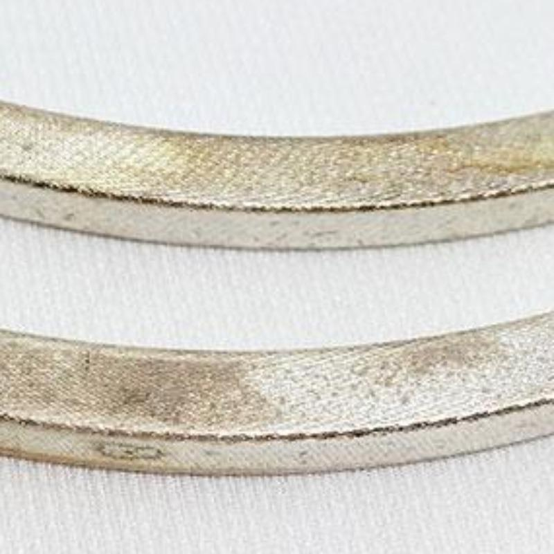 2 Vintage Plated Silver Textured Curved Rectangular Spacer Bars