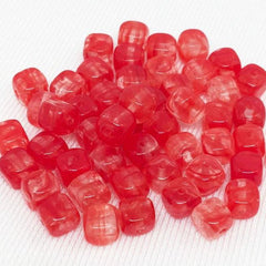50 Vintage Hurricane Clear Red Czech Cube Glass Beads