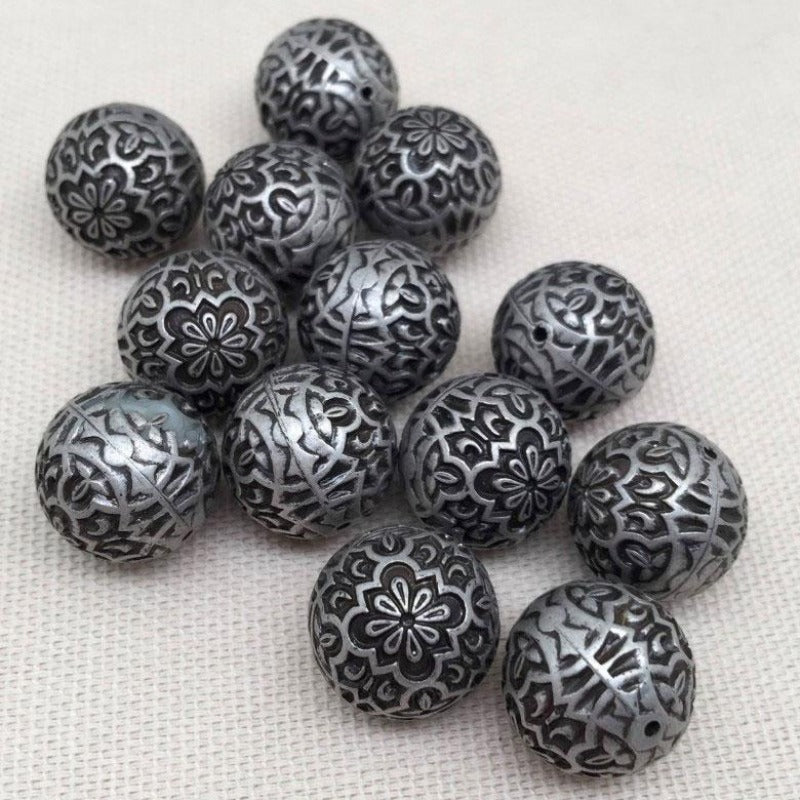 10 Vintage Antique Silver Floral Motif Round Acrylic Beads