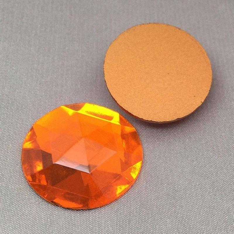 1 Vintage Large Orange German Faceted Round Glass Cabochon