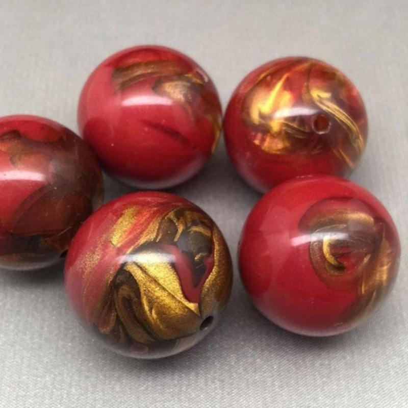 4 Large Red German Lucite Metallic Marbled Round Beads