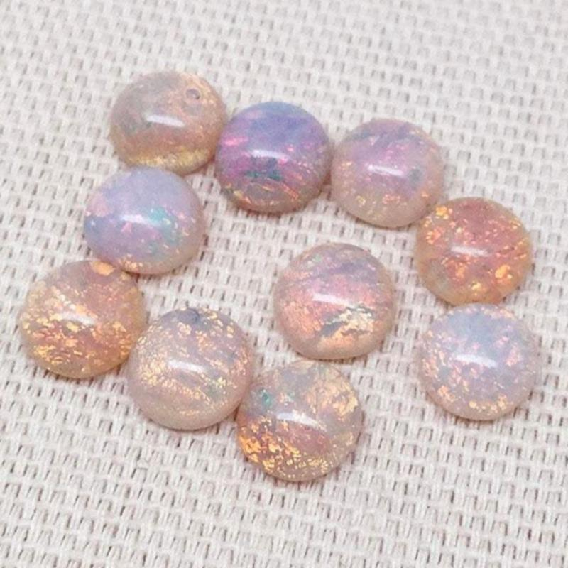 20 Vintage Round Fire Opal Glass Cabochons