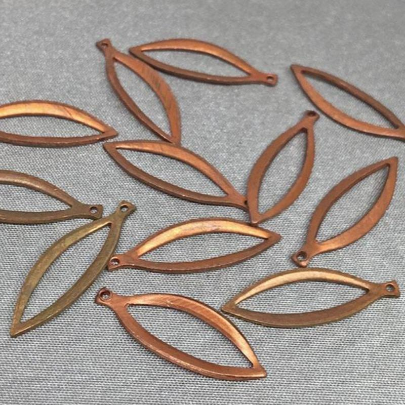 12 Vintage Red Tombac Brass Leaf Metal Charm Pendants