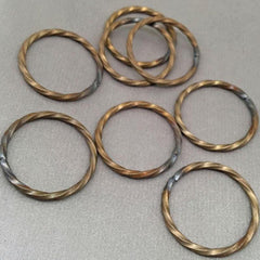 8 Vintage Steel Plated Soldered Twisted Metal Rings
