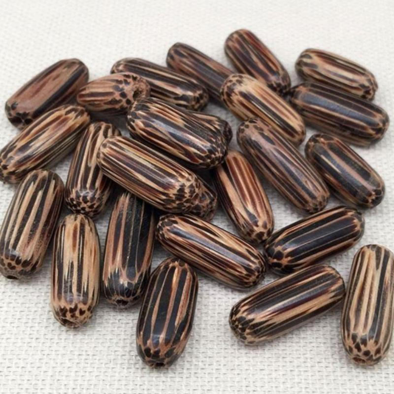 25 Vintage Striped Oval Wood Beads