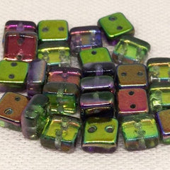 25 Magic Orchid Two Hole Czech Chexx Square Glass Beads