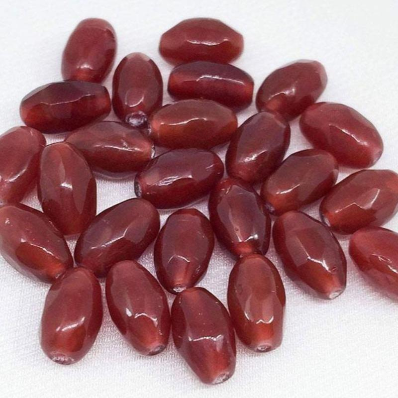 25 Vintage Carnelian Czech Oval Glass Beads