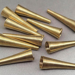 10 Light Gold Spring Metal Cone Bead Caps