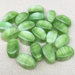 20 Vintage Green Striped Czech Glass Beads