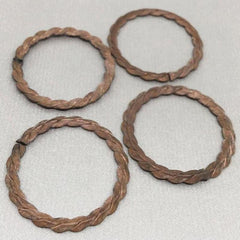 4 Vintage Twisted Aged Metal Round Ring Findings