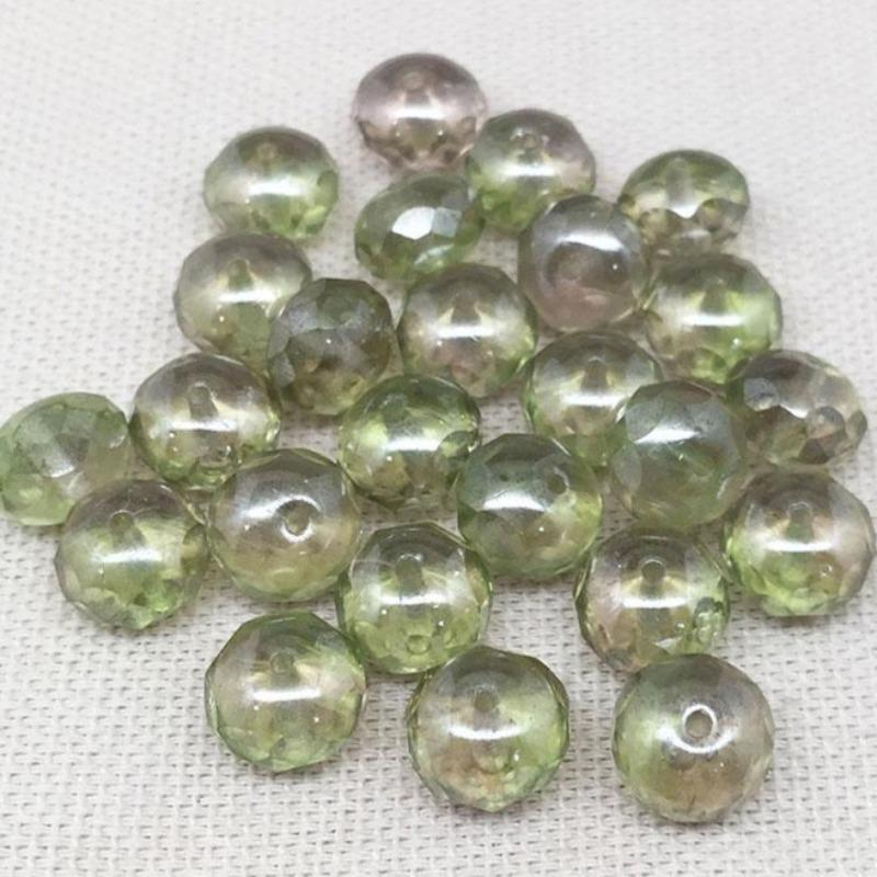 25 Light Pink Green Czech Rondelle Glass Beads
