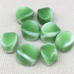 8 Vintage White Green German Givre Glass Beads