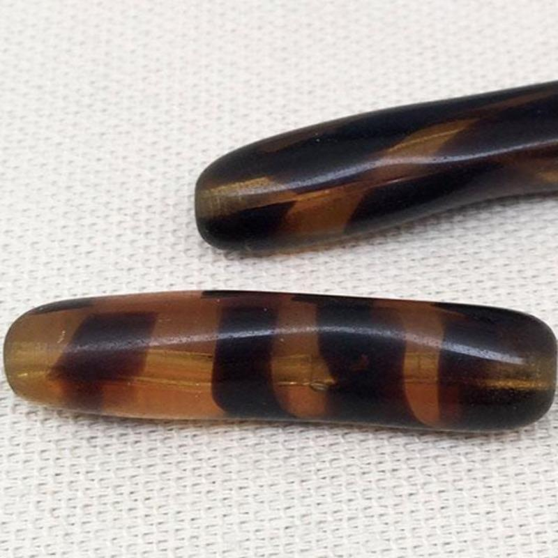 2 Vintage Golden Topaz Striped Austrian Tube Glass Beads