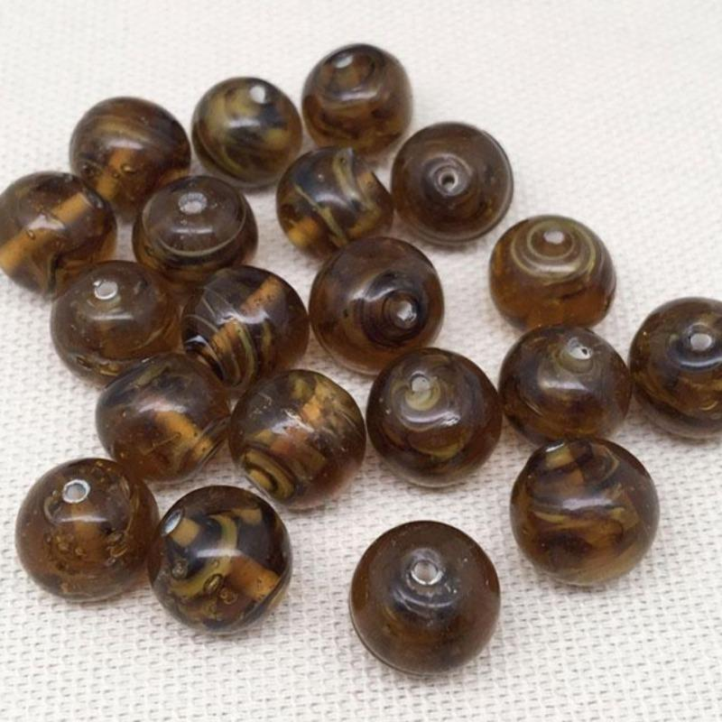 20 Golden Brown Japan Round Glass Beads