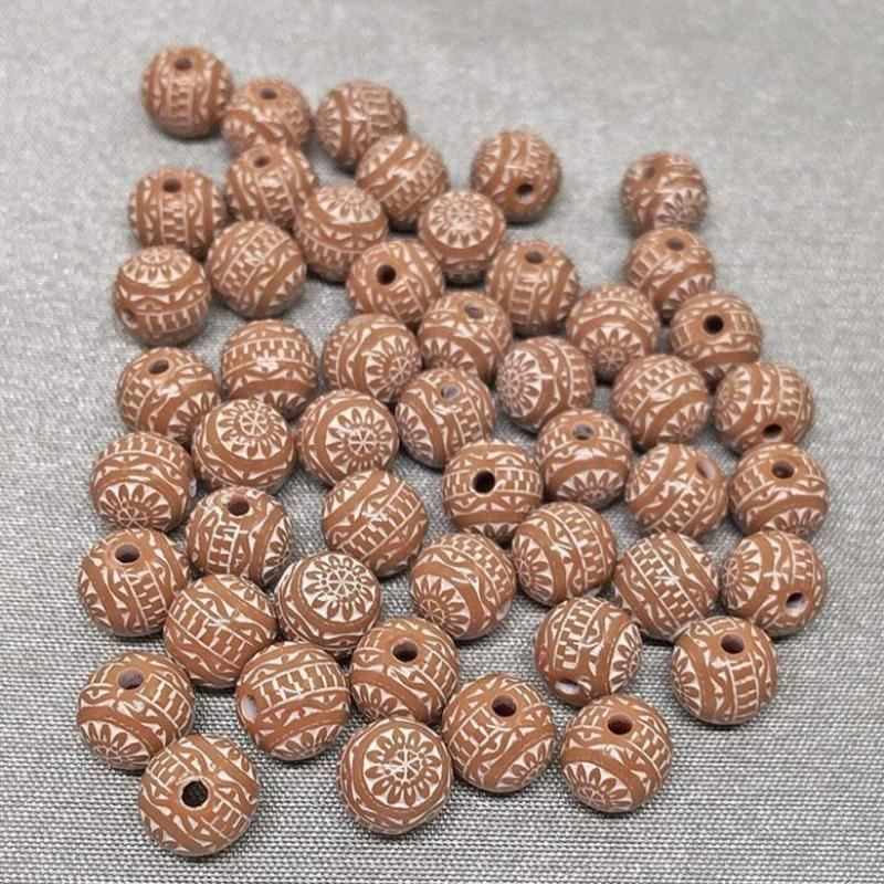 50 Vintage Brown White Lucite Round Beads