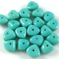 25 Vintage Aqua Teal Czech Triangle Glass Beads