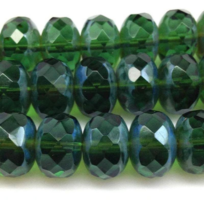 12 Large Green Picasso Czech Rondelle Glass Beads