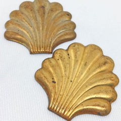 4 Vintage Brass Shell Metal Stampings
