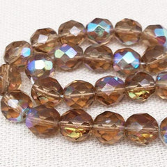 25 AB Translucent Brown Czech Faceted Glass Beads