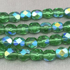 50 AB Green Czech Faceted Glass Beads