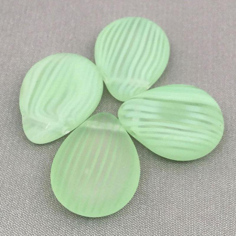 4 Frosted Clear Green Czech Briolette Glass Beads
