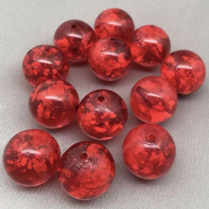 12 Vintage Red Lucite Round Beads