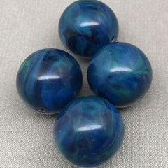 4 Vintage Green Blue Lucite Round Beads
