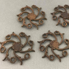 4 Vintage Aged Cast Brass Floral Metal Findings