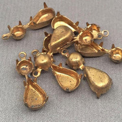 8 Vintage Brass Pear Stone Setting Metal Pendants