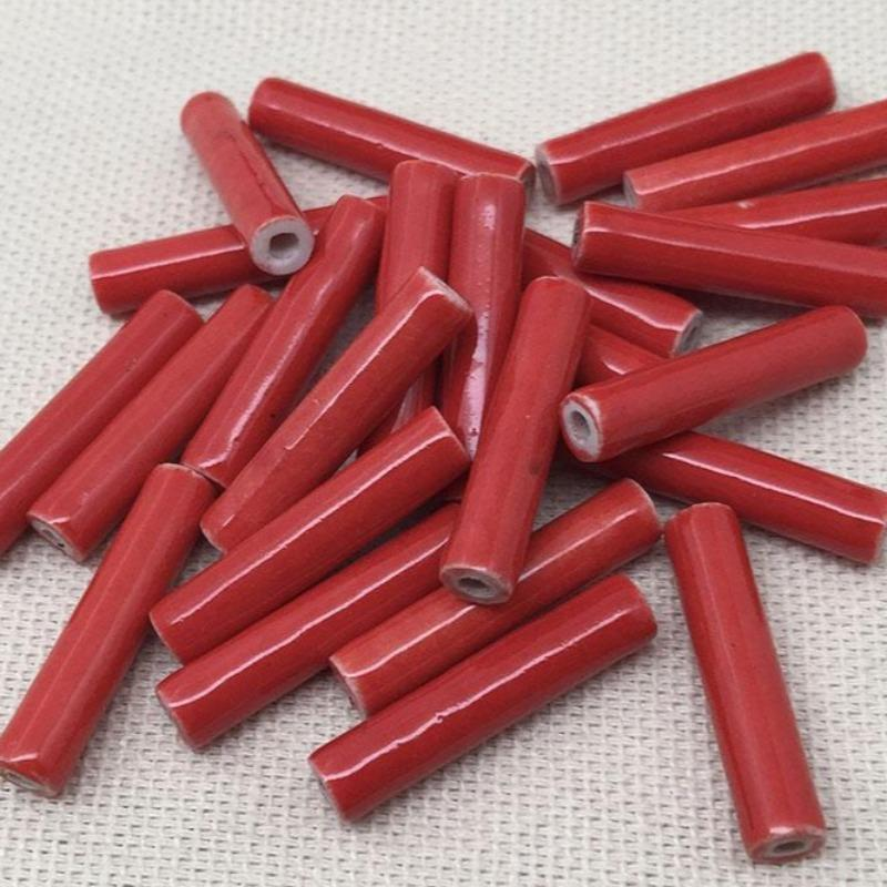 24 Vintage Red Japan Porcelain Tube Beads Beads