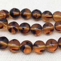 25 Striped Topaz Czech Round Glass Beads
