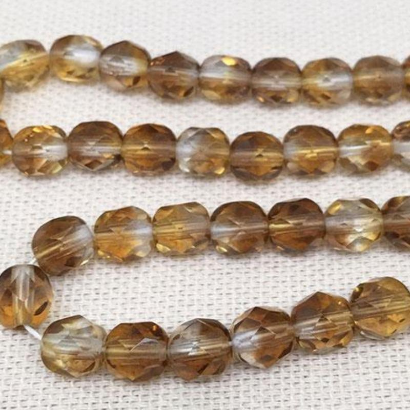50 Golden Topaz Czech Faceted Glass Beads
