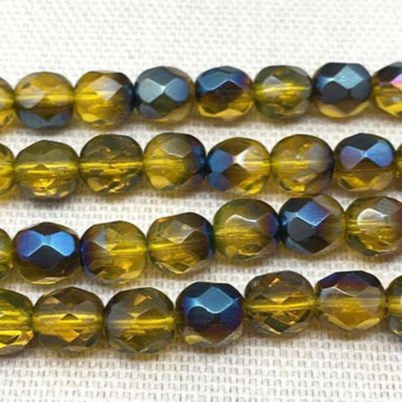 50 Azure Gold Czech Faceted Glass Beads