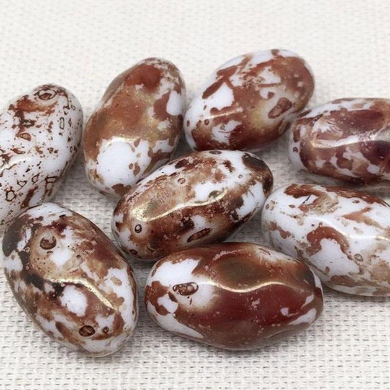 8 Vintage White Rustic Brown Austrian Oval Glass Beads